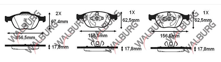 FREN BALATA ON FORD TRANSIT CONNECT 1.8 TDCI 17.80mm 2002-2006 1360303 4427737 - Oem No: 1359884