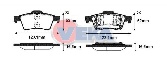 FREN BALATA ARKA FORD TRANSIT CONNECT 1.8 TDCI 16.60mm 2002-2013 4387371 4387374 - Oem No: 1360254