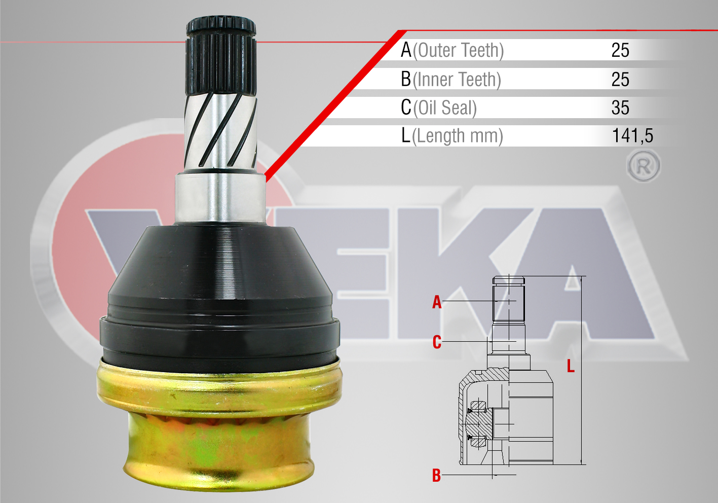 AKS KAFASI SOL ON IC OPEL ASTRA H 1.3 CDTI 25X25X35 UZUNLUK 141,5 MM 2004-2010  - Oem No: 1603269
