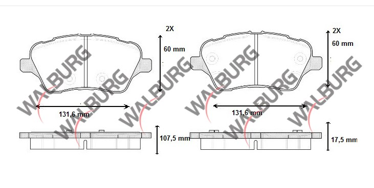 FREN BALATA ON FORD TOURNEO COURIER 1.5 TDCI 17.50mm 2014- 1860476 1848532 AY11 2K021 CA - Oem No: 1785193