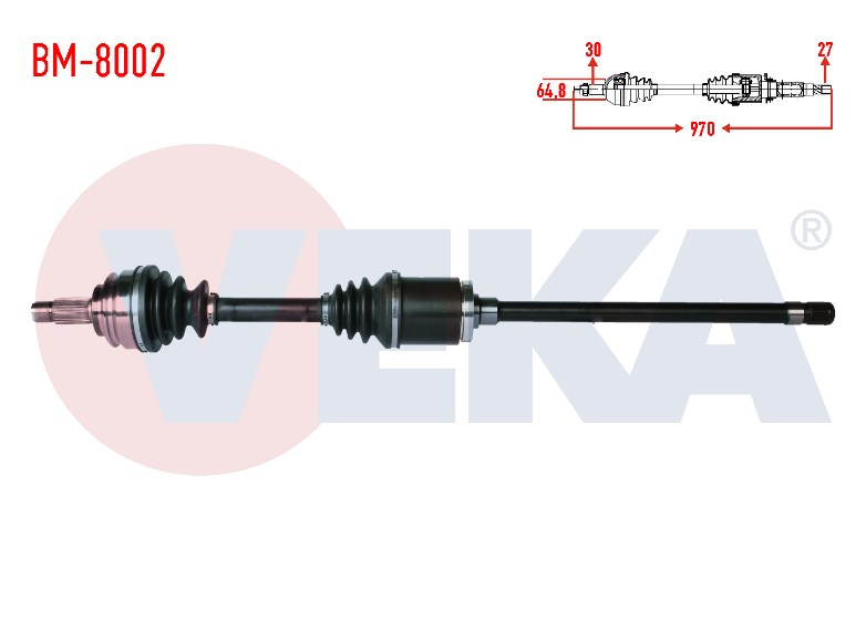 KOMPLE AKS SAG ON BMW X5 (E53) 3.0 D UZUNLUK 970mm 2000-2007 304496 - Oem No: 31607565314