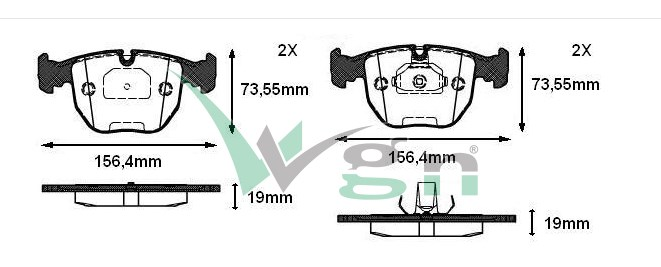 FREN BALATA ON BMW X5 (E53) 3.0 D 19.00mm 2000-2007  34111165227 34116761252 - Oem No: 34111163307