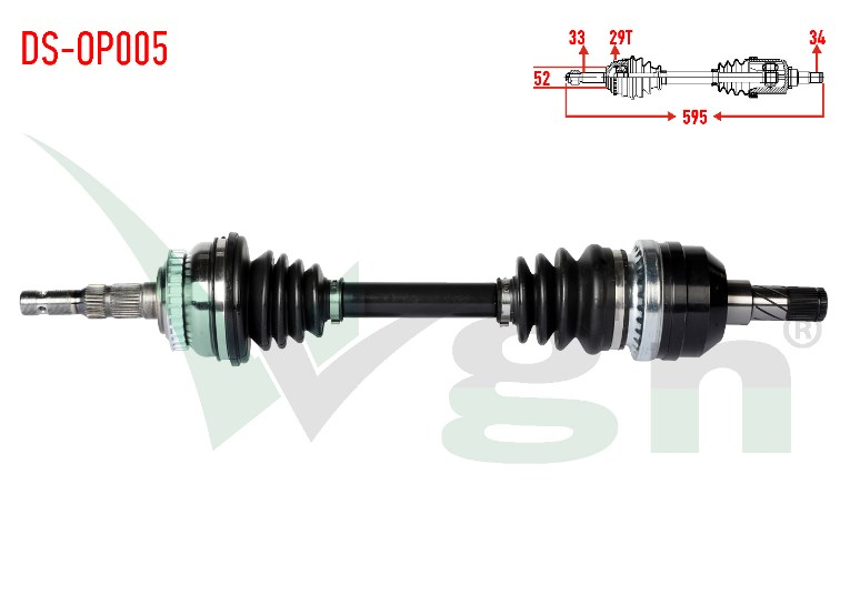 KOMPLE AKS SOL ON OPEL VECTRA B 2.0I ABSLI 29 DIS UZUNLUK 595MM 1995-2003 374282 90498637 90511447 90512983 - Oem No: 374261